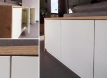 Niedriger Raumteiler Weiß/Holz mit Türen